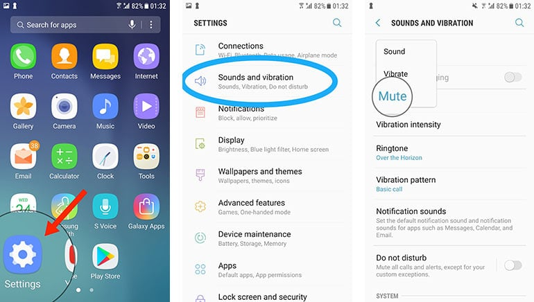 apaga las notificaciones, los sonidos y la vibración del teléfono