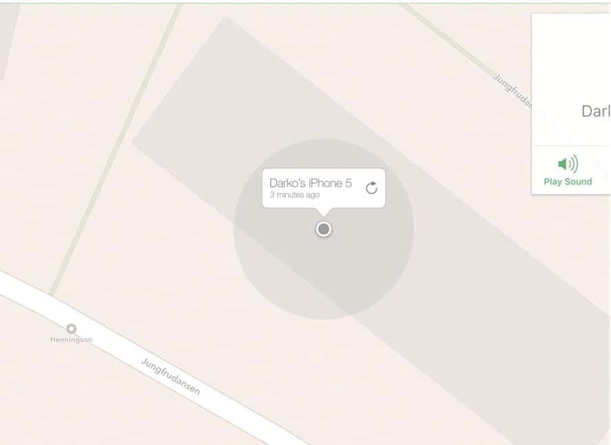 Un punto gris indica que el iPhone no se puede localizar