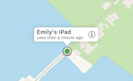 En Buscar mi iPhone la ubicacion exacta viene indicada por el punto verde