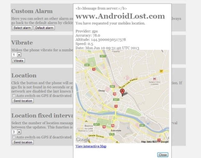 localizar telefono Android directamente en Google maps en Androidlost.com
