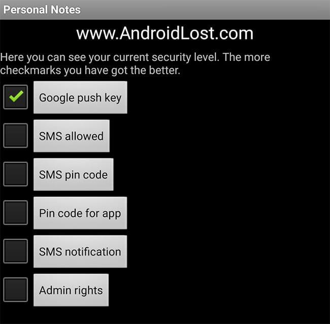 menu de opciones de android lost