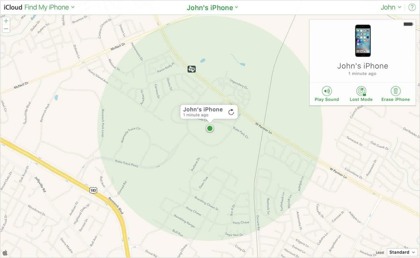 Un circulo verde mas grande significa que la precision de Buscar mi iPhone es mas baja