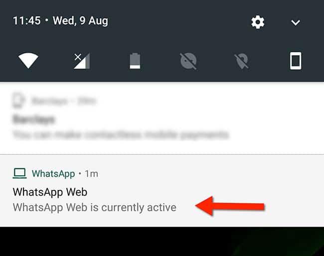 El mensaje de WhatsApp indica que está activo en la web